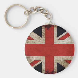 Vintage Grunge UK Flag Basic Round Button Key Ring