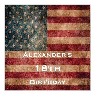 Vintage Grunge USA Stars & Stripes 18th Birthday 13 Cm X 13 Cm Square Invitation Card