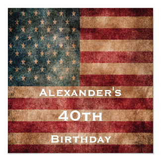 "Vintage Grunge USA Stars & Stripes 40th Birthday 5.25"" Square Invitation Card"