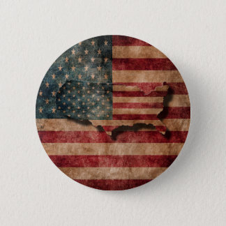 Vintage Grunge USA Stars & Stripes Flag and Map 6 Cm Round Badge