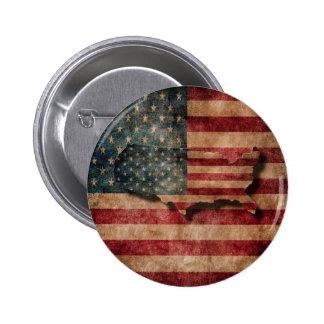 Vintage Grunge USA Stars & Stripes Flag and Map 6 Cm Round Badge
