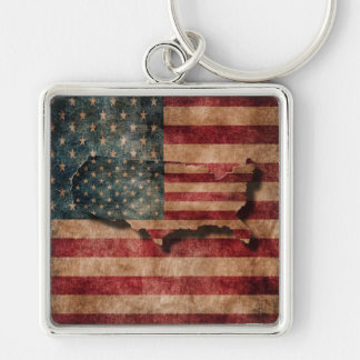 Vintage Grunge USA Stars & Stripes Flag and Map Silver-Colored Square Key Ring