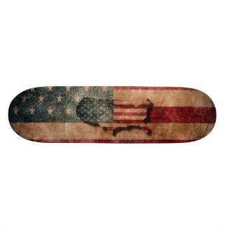 Vintage Grunge USA Stars & Stripes Flag and Map Skate Deck