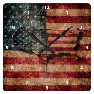 Vintage Grunge USA Stars & Stripes Flag and Map Wallclocks
