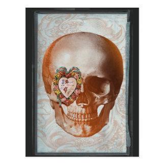 Vintage Grunge Valentine Skull Gothic Heart Postcard