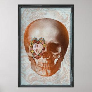 Vintage Grunge Valentine Skull Gothic Heart Poster