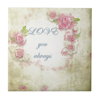 Vintage, grunge, victorian,shabby chic,floral,love small square tile