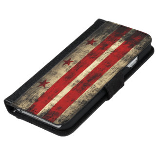 Vintage Grunge Washington D.C. Flag iPhone 6 Wallet Case