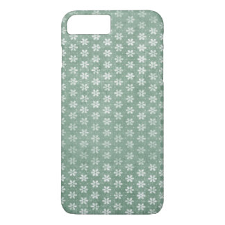 Vintage Grunge White Flowers On Green iPhone 7 Plus Case