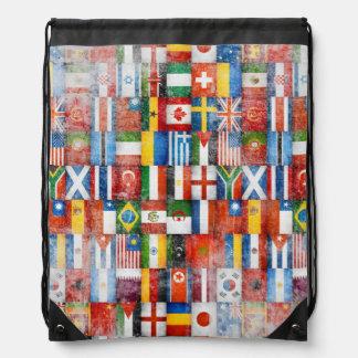 Vintage Grunge World Flags Collage Design Drawstring Backpack