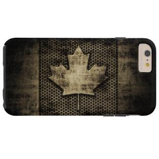 Vintage Grungy Metal Look Canadian Flag Tough iPhone 6 Plus Case