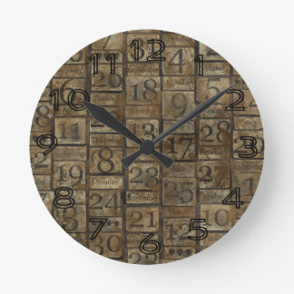 Vintage Grungy Numbers Round Clock
