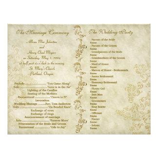 Vintage grungy wedding programs custom flyer