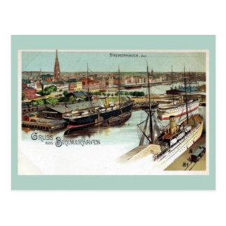 Vintage Gruss aus Bremerhaven litho Postcard