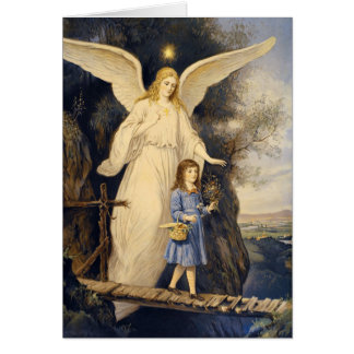 Vintage Guardian Angel and Child Greeting Card