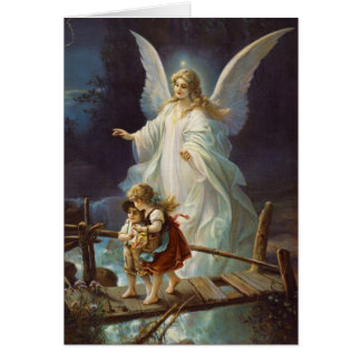 Vintage Guardian Angel and Children Greeting Card
