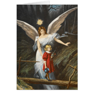 Vintage Guardian Angel and Girl Greeting Card