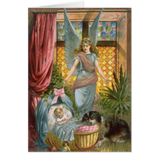 Vintage Guardian Angel with Baby Greeting Card