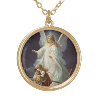 Vintage Guardian Angel with Children Round Pendant Necklace