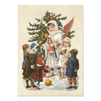 Vintage Guardian Christmas Angel with Kids & Tree Invite