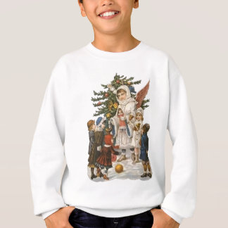 Vintage Guardian Christmas Angel with Kids & Tree Sweatshirt