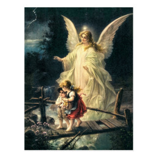 Vintage guards angel and children on bridge postcard