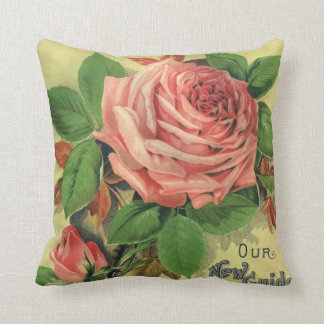 Vintage Guide to Rose Culture Book Cover Art, 1891 Cushion