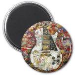 Vintage guitar - 6 cm round magnet