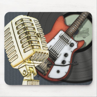 Vintage Guitar and Microphone Design Mouse Pad