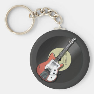 Vintage Guitar Basic Round Button Key Ring