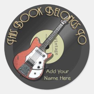 Vintage Guitar Bookplate Round Sticker