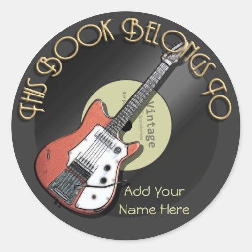 Vintage Guitar Bookplate Stickers