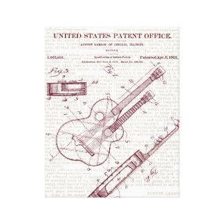 Vintage Guitar Patent Drawing Canvas Print