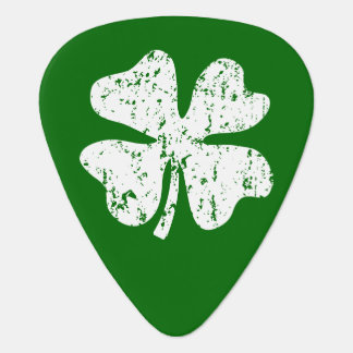 Vintage guitar pick with personalized lucky clover