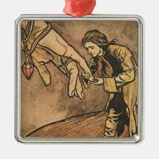 Vintage Gulliver's Travels by Arthur Rackham Silver-Colored Square Decoration