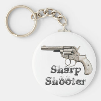 Vintage Gun Sharp Shooter or any name Basic Round Button Key Ring
