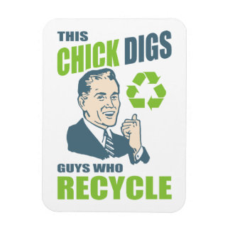 Vintage Guys Who Recycle Funny Environmental Rectangular Photo Magnet