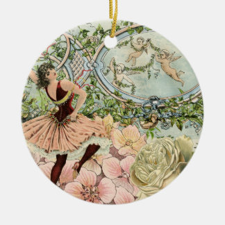Vintage Gypsy Dancing Ephemera Christmas Ornament