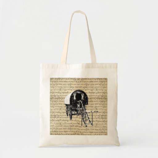 Vintage Gypsy wagon Tote Bags