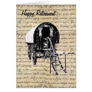 Vintage Gypsy wagon retirement Card