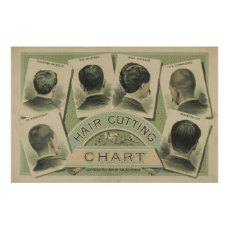 Vintage Hair Cutting Chart (1884) Posters