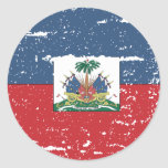 Vintage Haiti Flag Classic Round Sticker