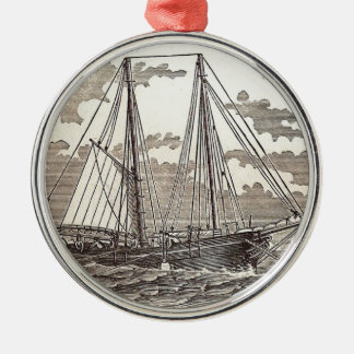 Vintage Halibut Schooner Round Ornament