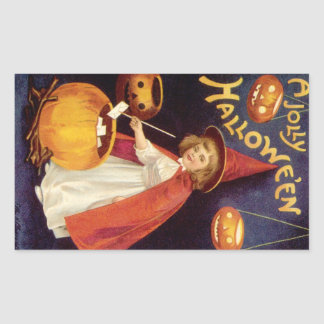 Vintage Halloween, A Cute Girl Witch with Letters Rectangular Sticker