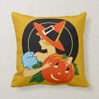 Vintage Halloween Art Deco Girl Pillow