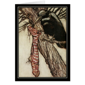 Vintage Halloween Arthur Rackham The Crow Card