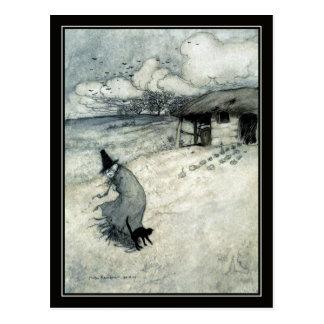 Vintage Halloween Arthur Rackham Witch + Black Cat Postcard