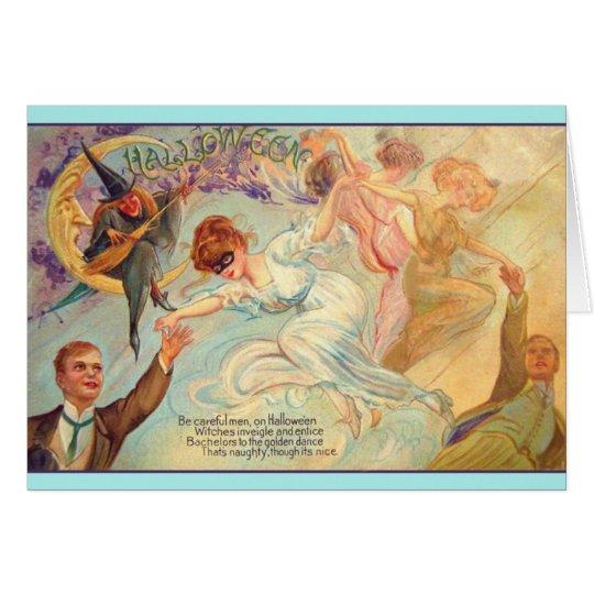 Vintage Halloween Bachelor Dance Greeting Card