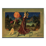 Vintage Halloween, Beautiful Dancing Witch Greeting Card