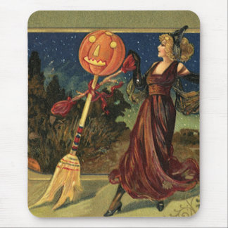 Vintage Halloween, Beautiful Dancing Witch Mouse Pad